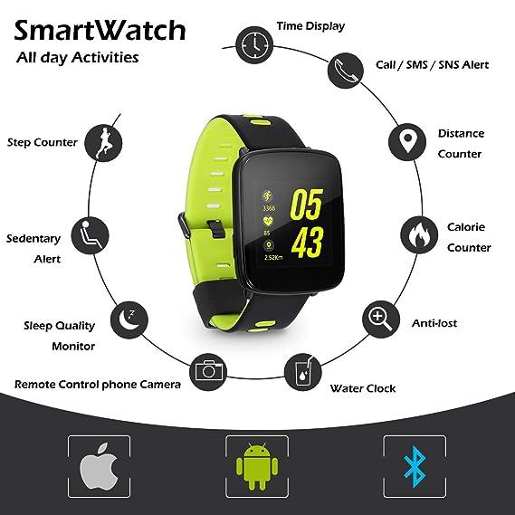 HAMSWAN Smartwatch IP68 resistente al agua Fitness Tracker ...