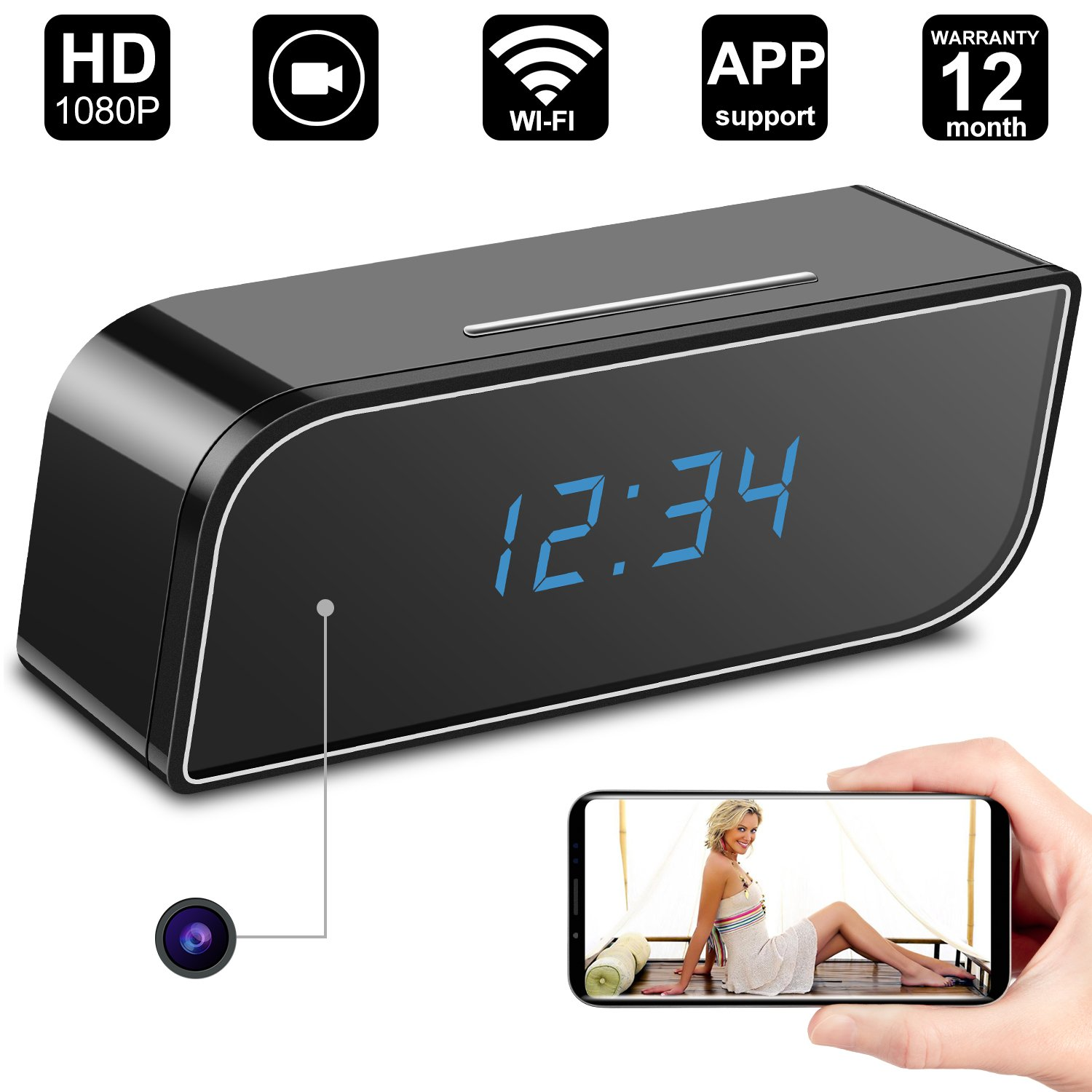 Hidden Camera Clock,Digihero Spy Camera in Clock WiFi alarm Cameras,1080P Video Loop Recorder Clock Spy Wifi Camera for Home And Office Security Monitoring Nanny Cam 150  Angle Motion Detection