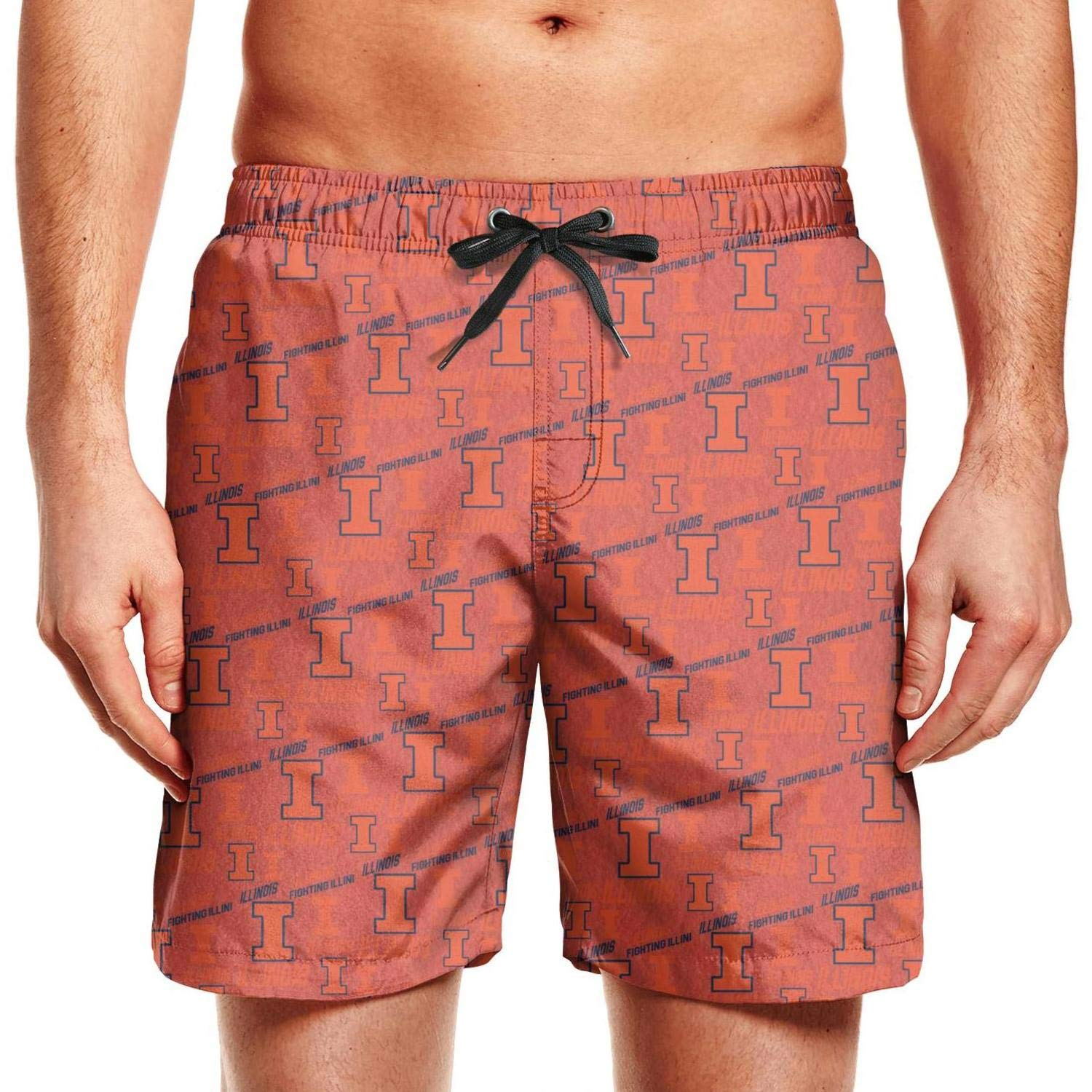 Nayouotyp Summer Illinois Fighting Illini Basketball Black Men Swimming Trunks Shorts Quick Dry Miles Surfing Tropical Short
