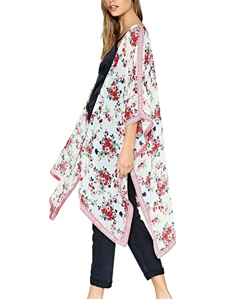 e06ff7cd8ebd9 Womens Kimono Cardigans Floral Chiffon Blouse Boho Irregular Wrap Kimono  Cardigans Casual Coverup Tops S-