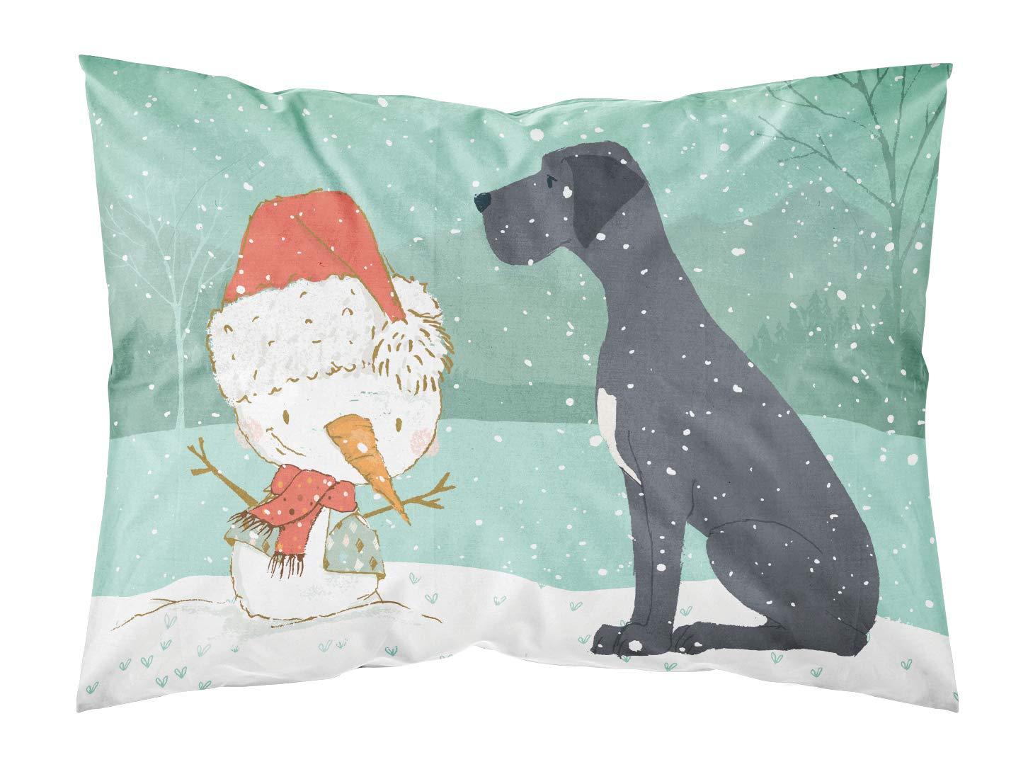 Carolines Treasures Cropped Fawn Dane Snowman Christmas Fabric Standard Pillowcase,