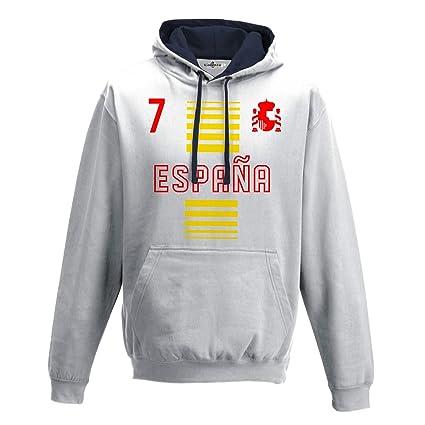 KiarenzaFD Sudadera con Capucha Bicolore Hombre Nacional Deporte Espana Spain 7 Futbol Scudo 2 XXL