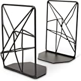 TG Premium Geometric Bookends with Matte Finish - Decorative Iron Book Stoppers - Industrial/Home/Office Creative Shelf…