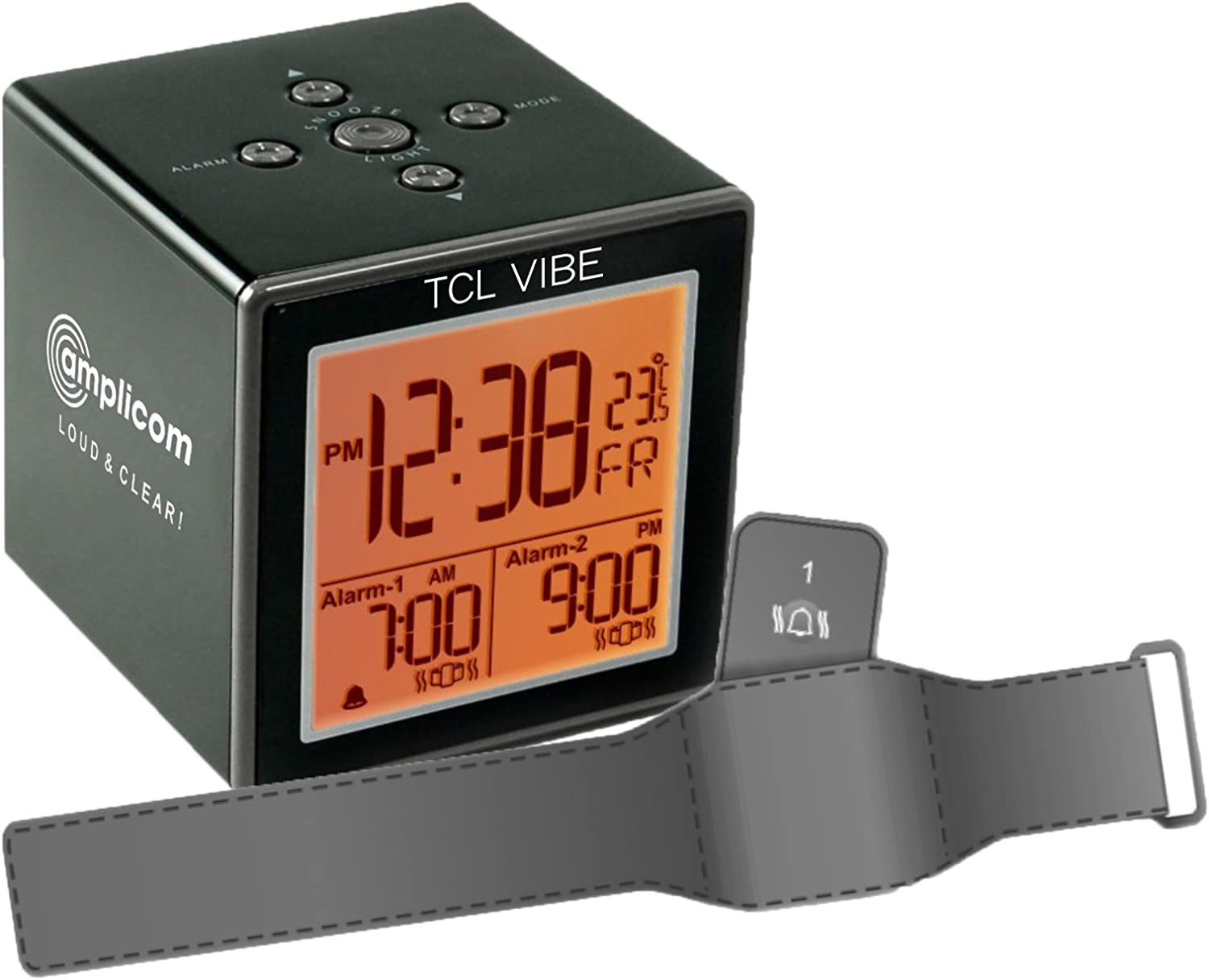 Amazon.com: Amplicom TCL Vibe Alarm Clock, Small, Black - 95866 ...