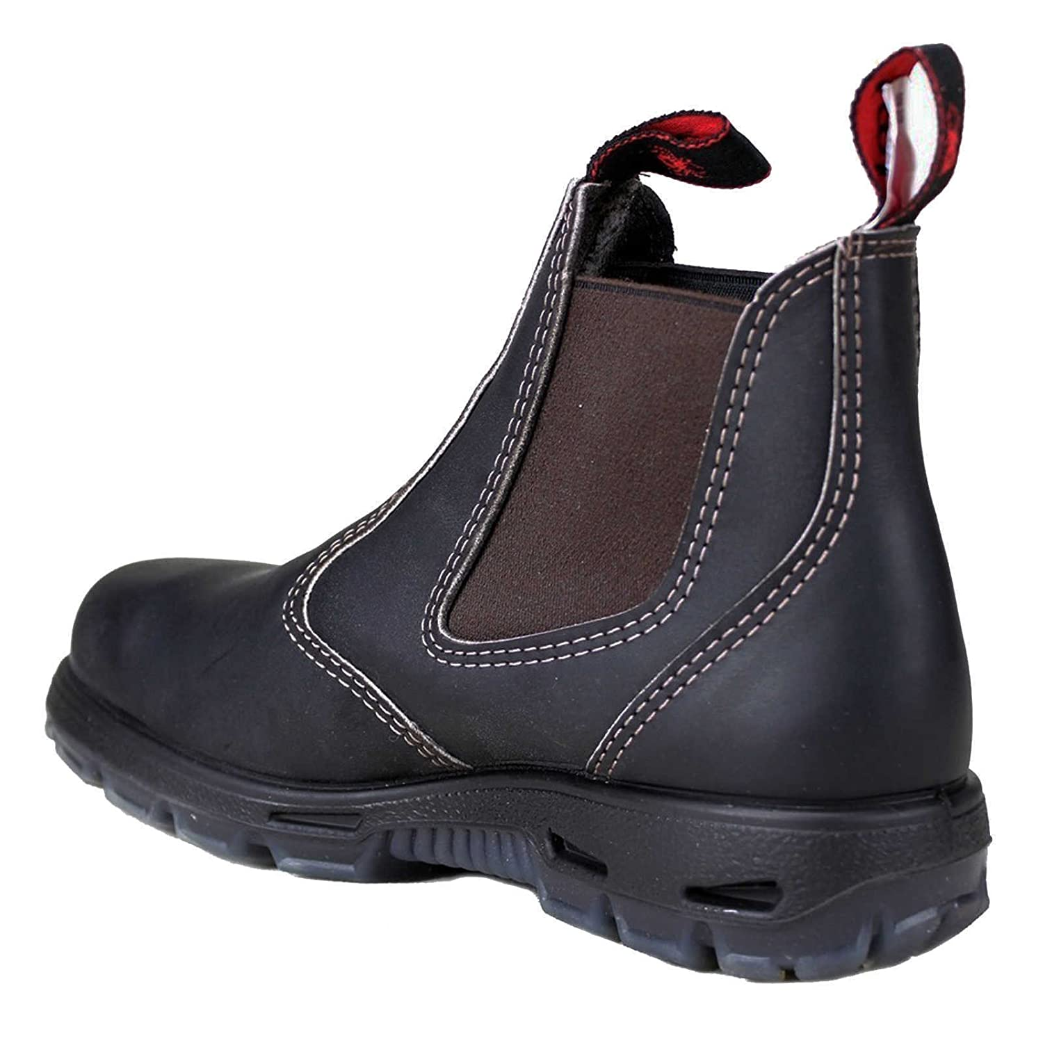 Mens Leather Lightweight Dealer Chelsea Ankle Steel Toe Cap Safety Boots Shoes z