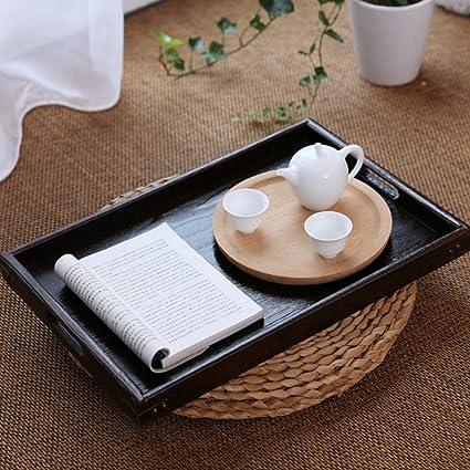 ZHAS Palets de madera Casa minimalista rectangular bombonera madera antigua bandeja de té dim sum