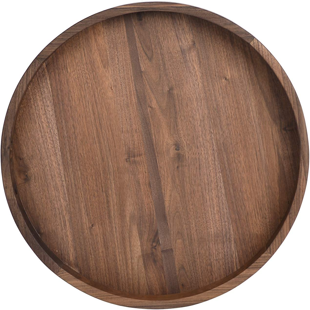 KINGCRAFT 24 x 24 inches Large Round Ottoman Table Tray Wooden Solid Circle Serving Tray with Handle Black Walnut Platter Decorative Tray for Oversized Ottoman Home Breakfast in Bed Tea Coffee