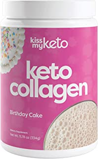 product image for Kiss My Keto Protein Powder (Birthday Cake) — Keto Collagen Protein Powder + MCT Oil C8 (5g) | Low Carb Keto Shake | Sugar Free — 100% Grass-fed Hydrolized Collagen Peptides