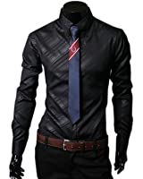 HnB Men's Stylish Formal Shirts Dress Shirt Solid Color Twill Slim Fit Long Sleeve