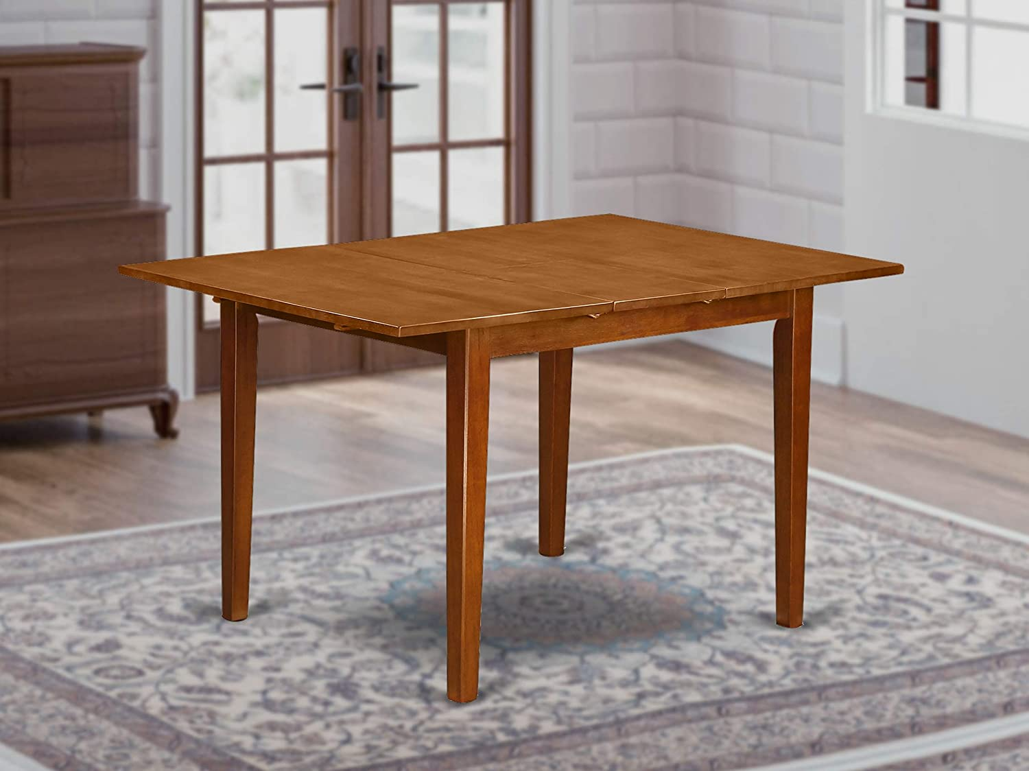 Milan Rectangular dinette kitchen Table 36 x54 with 12 butterfly leaf in brown finish