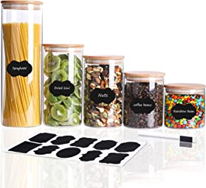 Glass Canister Set 5PC【26/34/45/53/80 oz】Airtight Glass Jar With Lid, Glass Food Storage Jars With Bamboo Lids, For Kitchen Pantry Counter Storage Containers ,Include Labels and Marker
