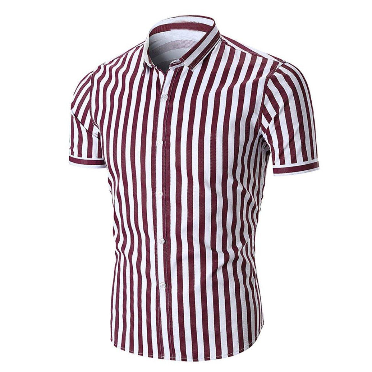Chemises Homme Chemises BoutonnéEs Chemises Bureau Chemise à Manches Courtes RayéE D'éTé pour Hommes HCFKJ - MS