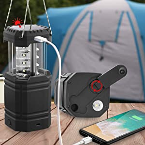 Portable Solar Hand Crank Camping Lantern,Ultra Bright Flashlight for Emergency, Rechargeable 3000mAh Power Bank with USB Charger, 35H Long Play Time, Outdoors & Indoors