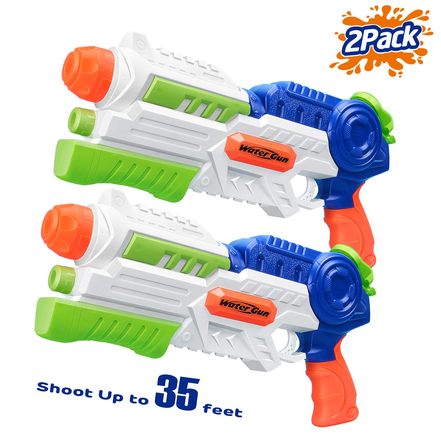 HITOP Super Soaker Water Gun, 2 Pack Squirt Guns Water Guns for Kids Adults, 36oz High Capacity Fast Soaking Trigger Summer Water Blaster Toy for Swimming Pools Party Outdoor Beach Sand Water Fighting by HITOP