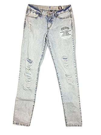 e4a30c85282 Amazon.com  Rewash Juniors Ripped Lace-Trim Wate Light Wash Jeans 5 ...