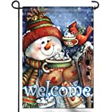 ANLEY [Double Sided] Premium Welcome Winter Garden Flag, Snowman Bird Snowflake Decorative Garden Flags - Weather…