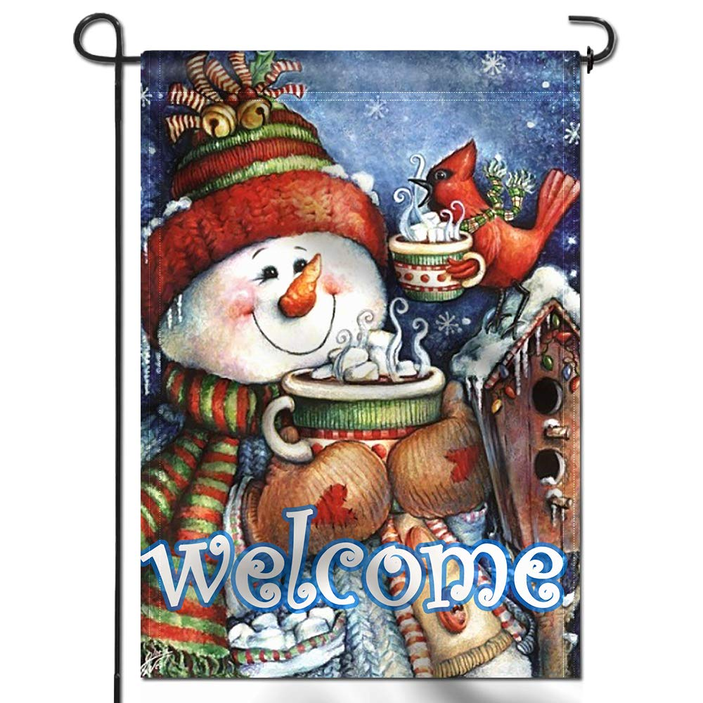 Anley |Double Sided| Premium Welcome Winter Garden Flag, Snowman Bird Snowflake Decorative Garden Flags - Weather Resistant & Double Stitched - 18 x 12.5 Inch
