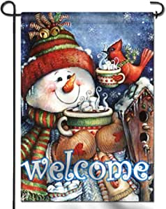 Amazon Com Anley Double Sided Premium Welcome Winter Garden Flag Snowman Bird Snowflake Decorative Garden Flags Weather Resistant Double Stitched 18 X 12 5 Inch Garden Outdoor