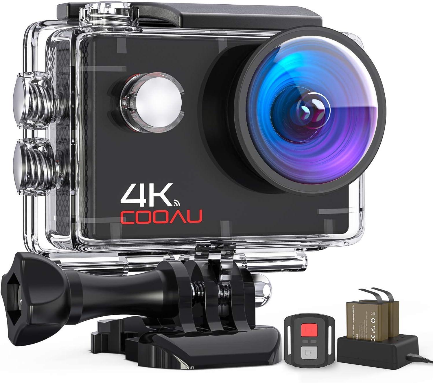 Camera COOAU 4K 16MP Cam/éra Sport avec Wi-FI T/él/écommande stabilisateur EIS