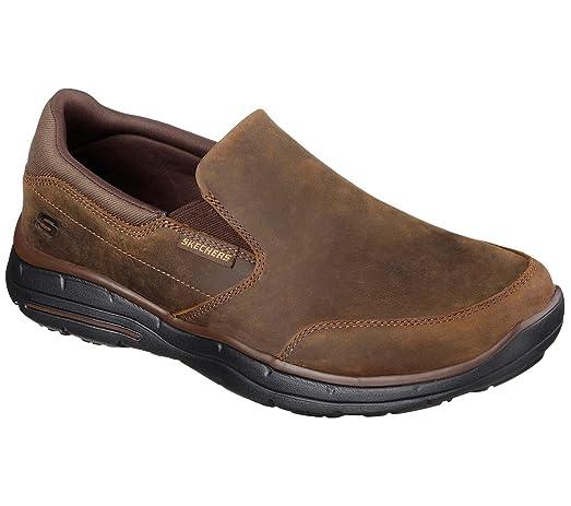 Skechers Lifestyle 64589EWW Men's Glides Calculous Shoe, Dark Brown  Waterproof Crazyhorse Leather - 11.5