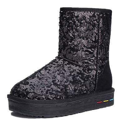 Women's Paillette Snow Boots Leather Short Boot