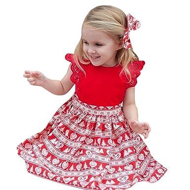 f2305fd1f2e64 Momola Bébé bébés Filles Noël Volant Imprimer Dentelle Bandeau Habiller  vêtements (3T)