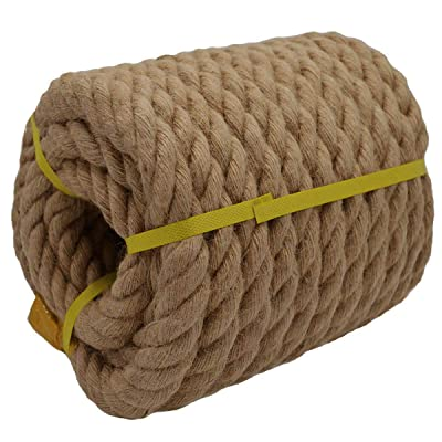 Twisted Manila Rope Jute Rope (1.2 Inch x 50 Feet) Natural Thick Hemp Rope for Nautical, Landscaping, Railings, Hammock, Home Decorating