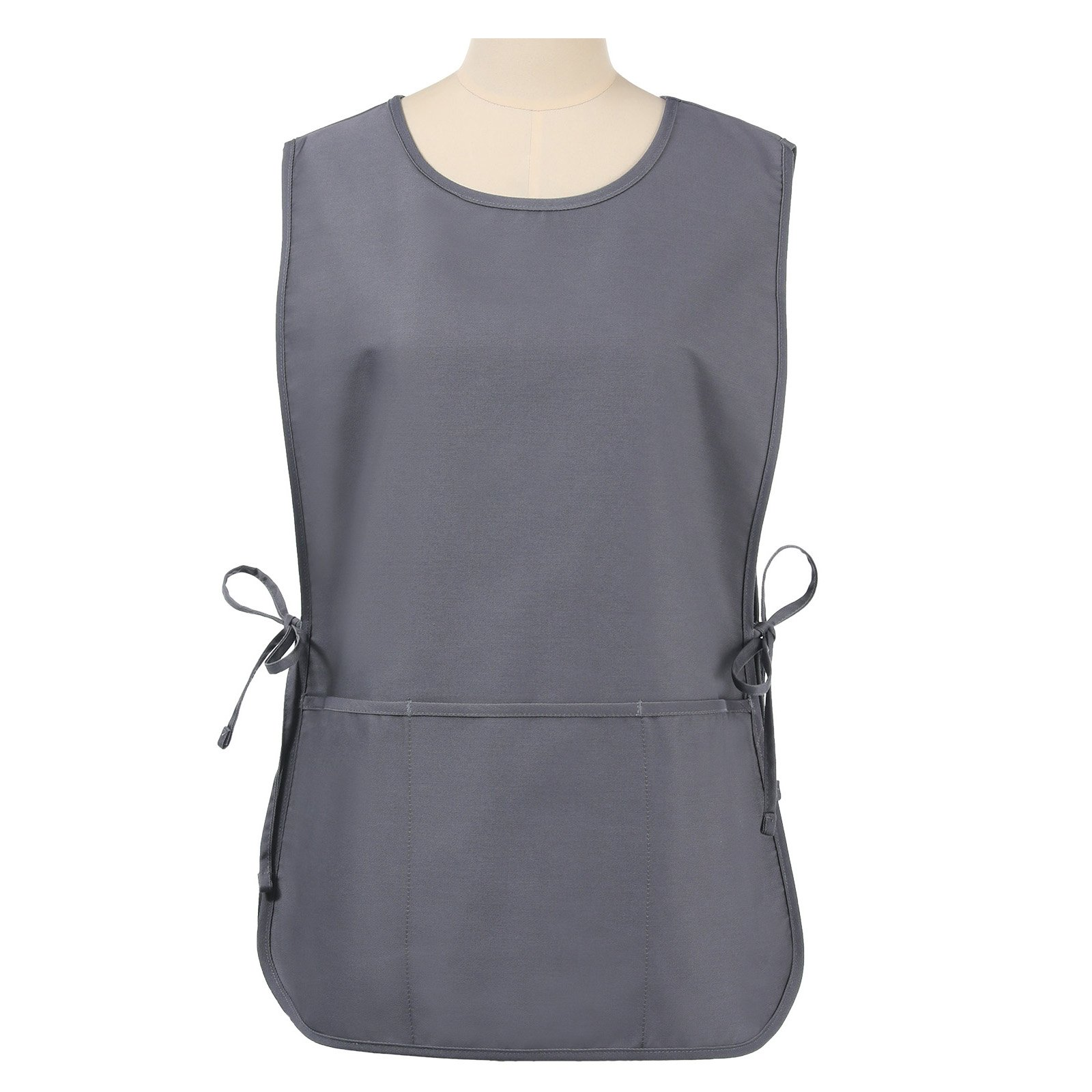 VEEYOO Chef Cobbler Apron with 3 Pockets, Polyester Cotton, Art Smock Aprons for Unisex Adult Men Women, Slate, Regular 20x28 inches