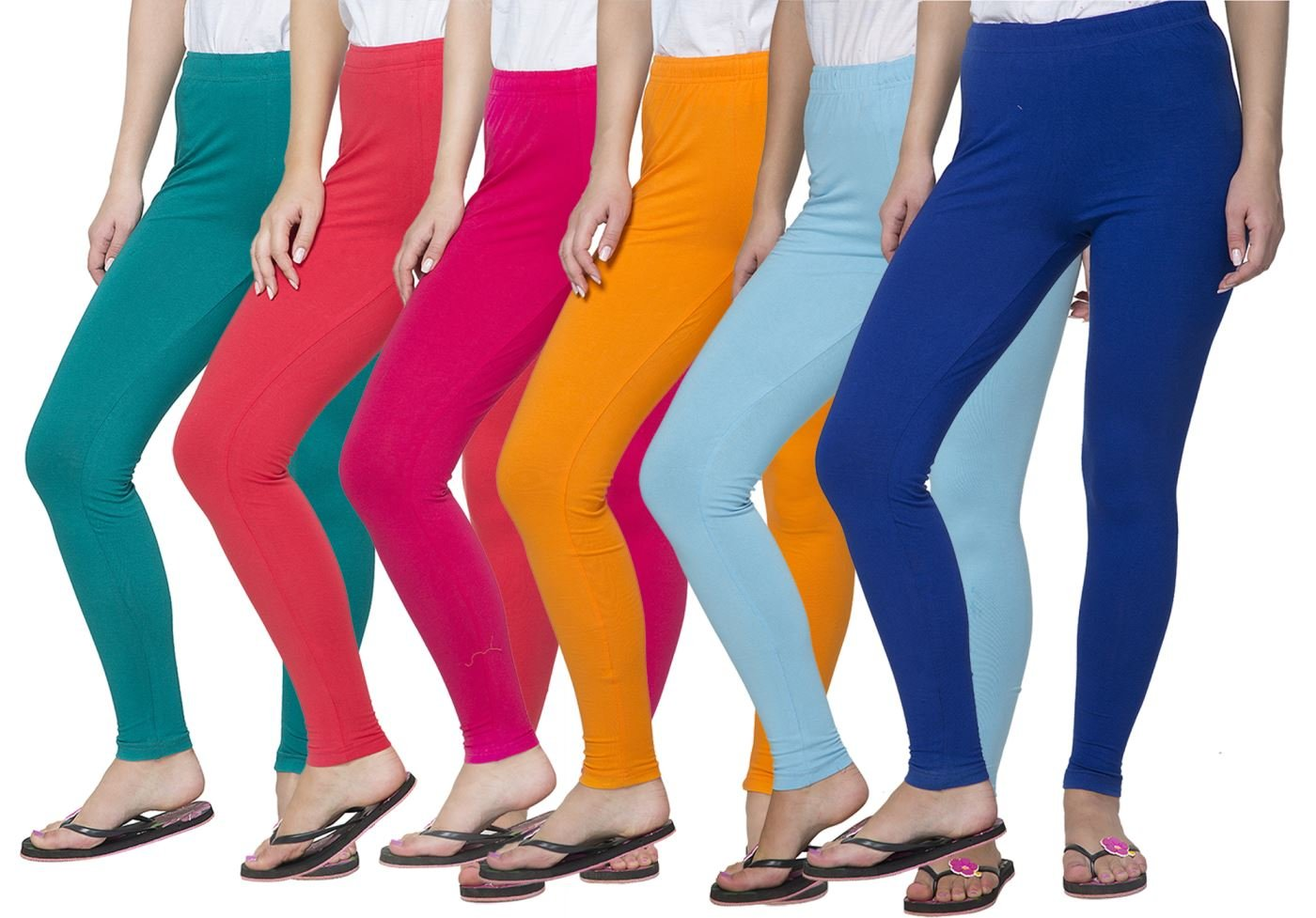 Clifton Women's Cotton Spandex Fine Jersey Leggings Pack Of 6-Assorted-1-XL