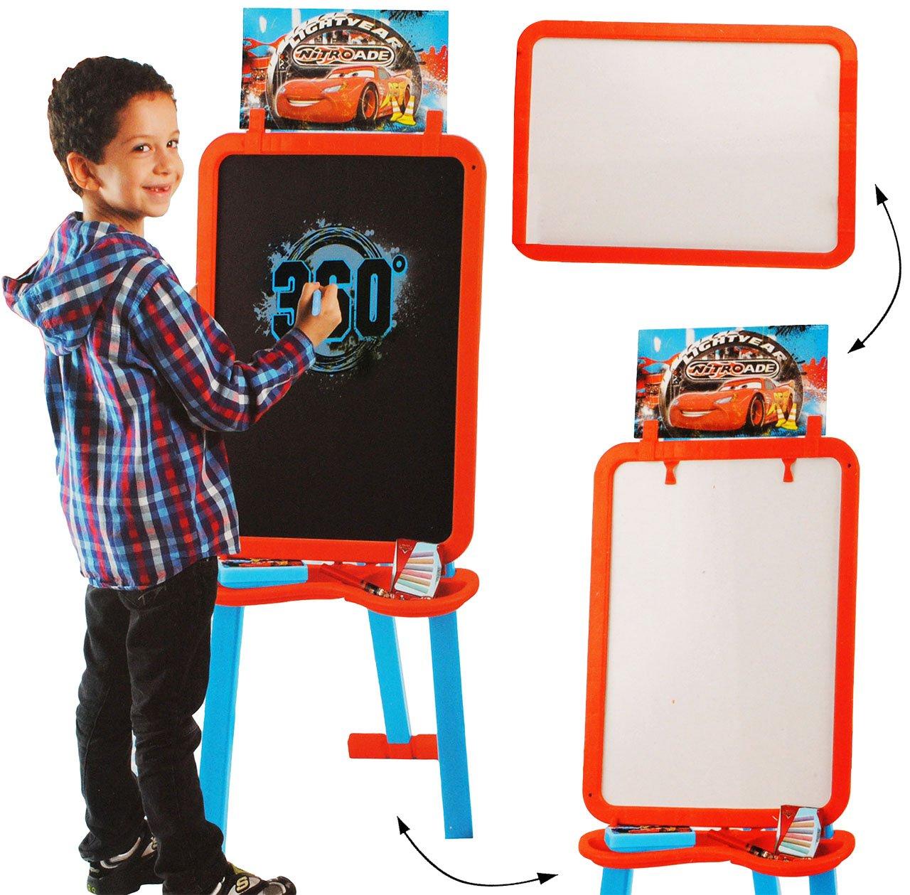 alles-meine.de GmbH 3 in 1: Schreibtafel / Maltafel / Staffelei - Disney Cars - Lightning McQueen - incl. Name - 1, 18 m hoch - mit Blackboard & Whiteboard - doppelseitig - Se..