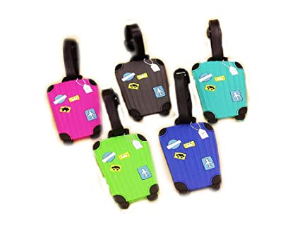 60144126f45a Amazon.com | Silicone Luggage Tag With Name ID Card aircraft pattern ...