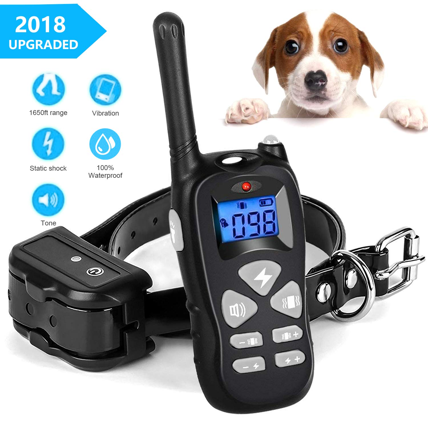 YISENCE Dog Training Collar, Rechargeable and Waterproof Shock Collar for Large Dogs and Small Dogs, 3 Training Modes Beep 1-99 Levels Vibration and Shock Collar for Dogs (DTC3)