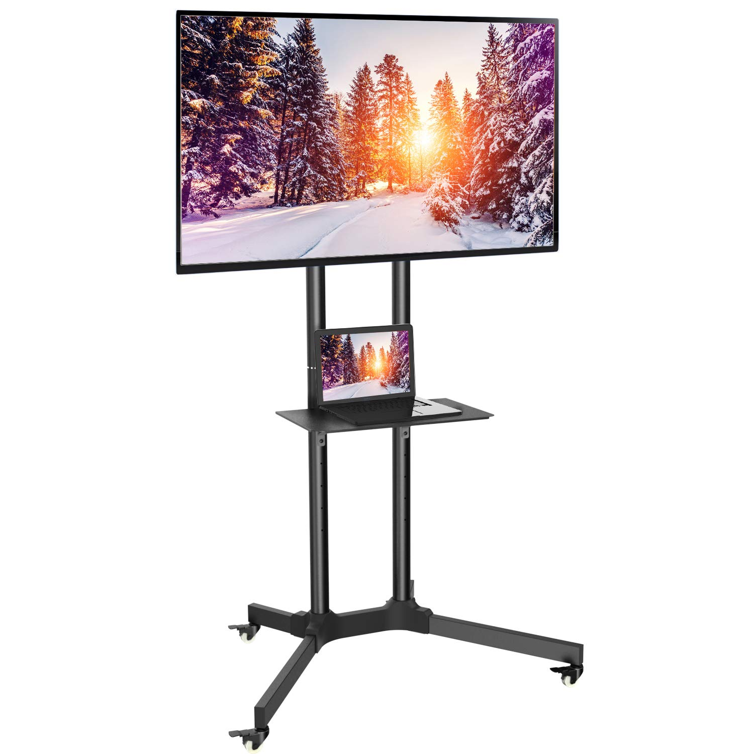 Black TV Cart W/Wheels for LCD LED Plasma Flat Panel Stand 32-65 Inch - Holds TV up to 132lbs Max VESA 600 x 400, Height Adjustable TV Stand Wheels by PERLESMITH (Model: PSTVMC1)