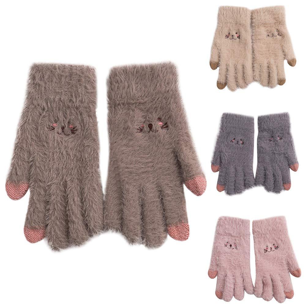 BingYELH Women Touch Screen Gloves Girls Fur Gloves Convertible Flip Cover Gloves Cute Cat Winter Warm Knit Gloves by BingYELH (Image #2)