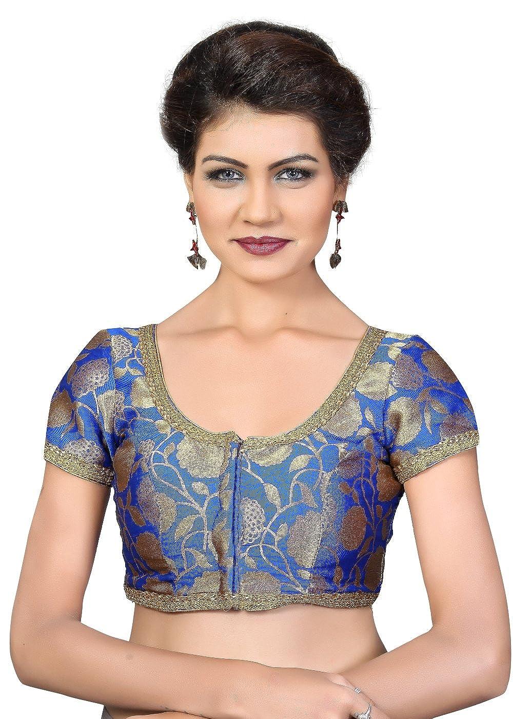 Royal bluee Designer Brocade Silk Leaf Print Sari Blouse