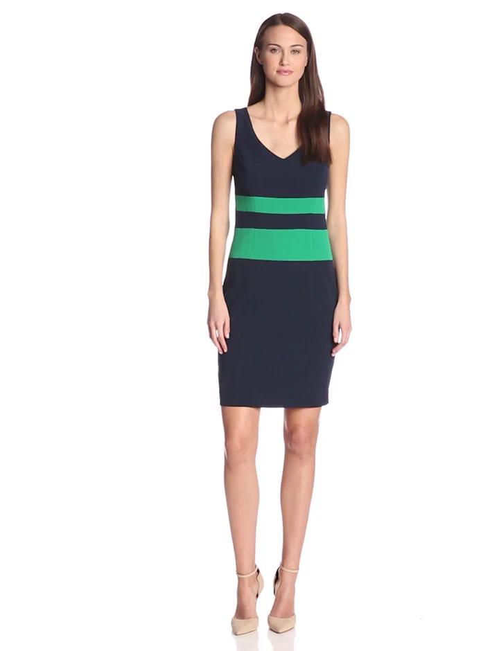 Anne Klein Women's Color Blocked Dress, Midnight, 4