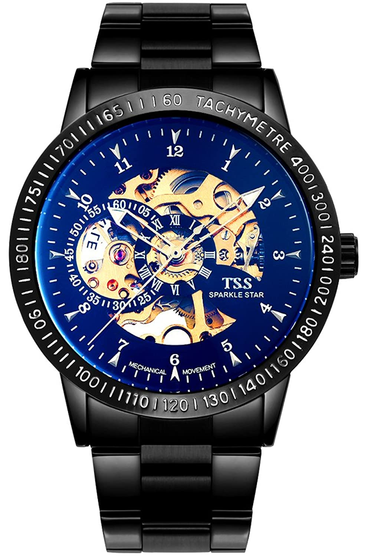 TSS Herren 's Colorful Zifferblatt Golden Hand schwarz Band Skelett View Automatische Armbanduhr