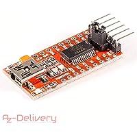 AZDelivery ⭐⭐⭐⭐⭐ Adaptateur FTDI FT232RL USB à TTL Serial pour 3,3 V et 5 V pour Arduino Pro Mini TE203 (1x FTDI Adapter)