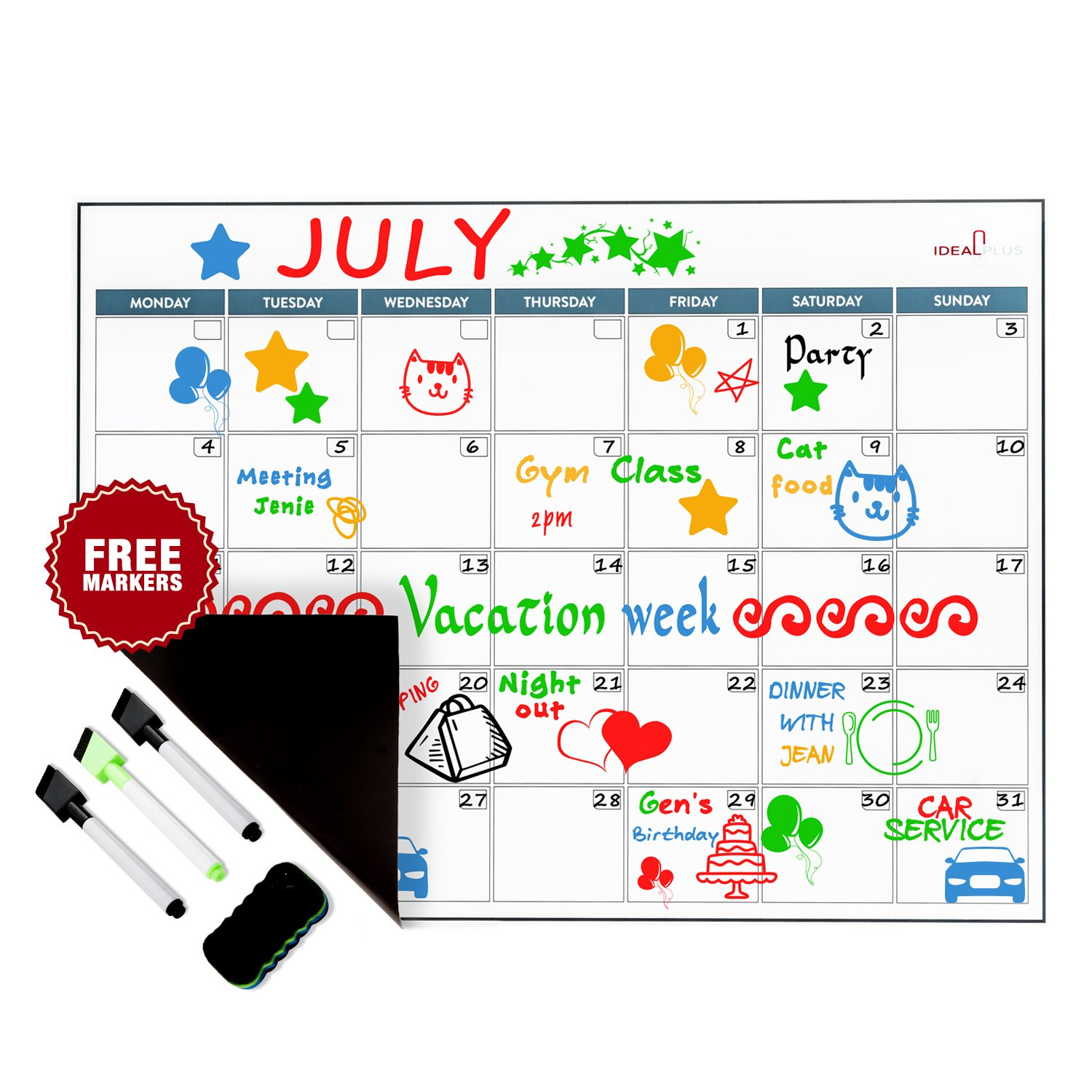 Magnetic Dry Erase Calendar Set by Ideal Plus | Monthly White Board Meal Planner for Refrigerator | Kitchen Grocery Organizer | New Stain Resistant PET Coating | Thickest and Strongest in the Market