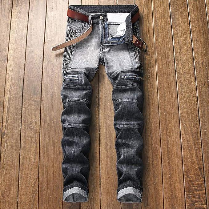 ZYUEER Pantalones Vaqueros Slim De Jeans Slim Feans Wash ...