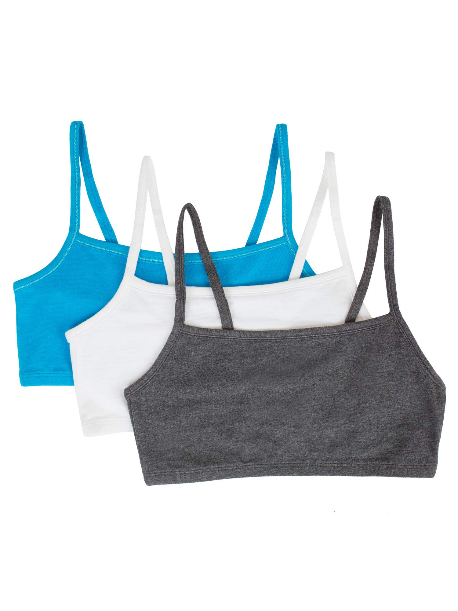 Fruit of the Loom Women's Cotton Pullover Sport Bra, Charcoal Heather White/ISAZURE-3 Pack, 32 by Fruit of the Loom