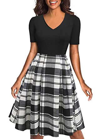 c5fb889879ab BOKALY Women s Retro V-Neck Party Cocktail Swing Casual Dress Classic Black  White Plaid Patchwork