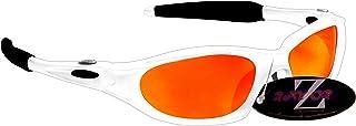 Rayzor professionali leggeri UV400 Bianco Sport Wrap Grillo da sole, con un obiettivo rispecchiato rosso Iridium. RI478WTRE-CR