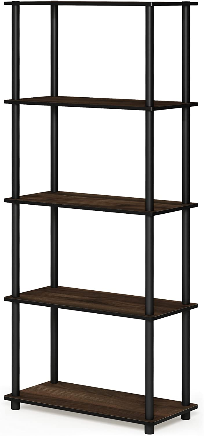 FURINNO 17091CWN/BK Turn-N-Tube 5-Tier Multipurpose Shelf Display Rack, Single, Columbia Walnut/Black