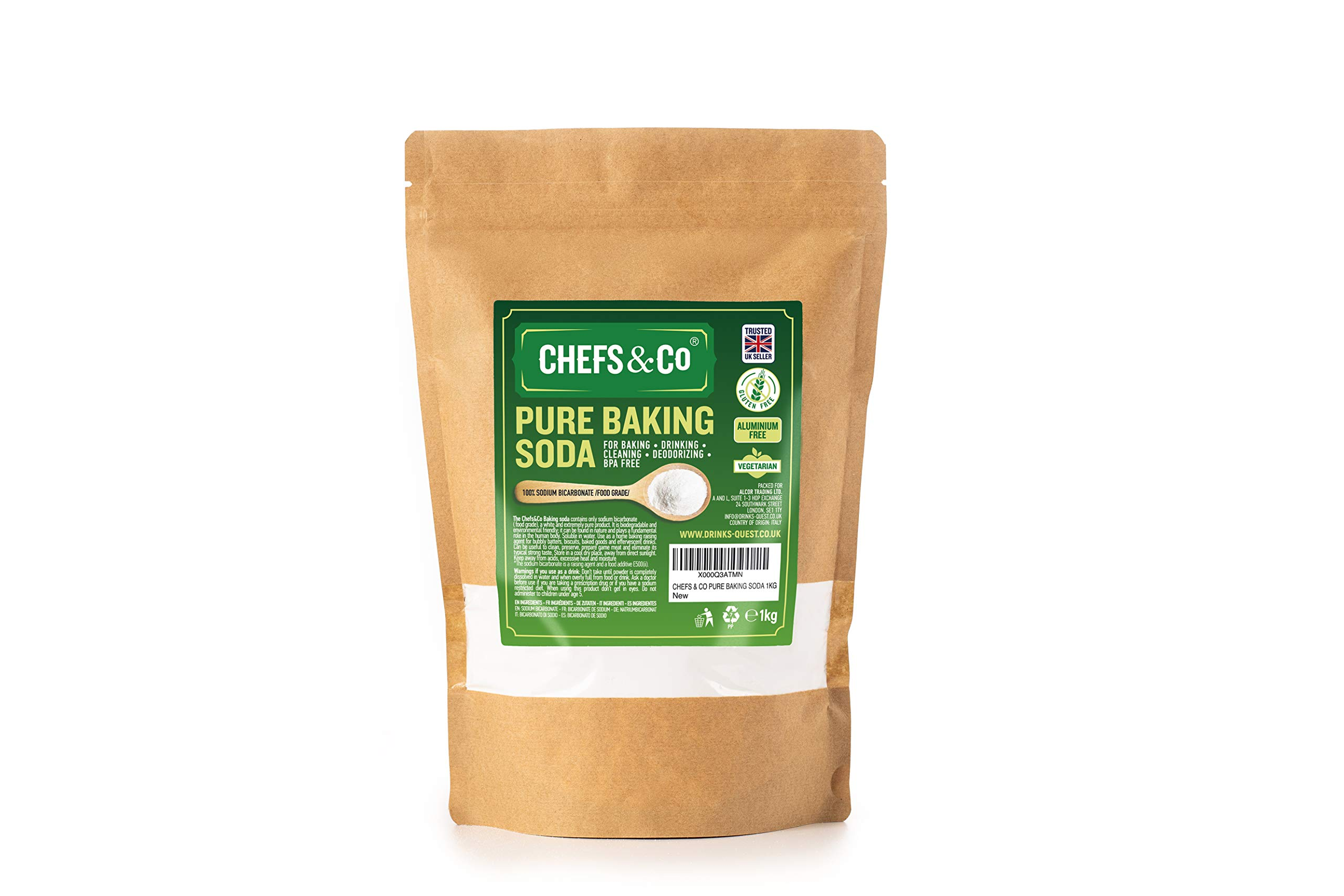CHEFS & CO Pure Baking SODA (1KG) | 100% Sodium Bicarbonate | for Baking | for Drinking | Aluminium Free | BPA Free | Raising Agent