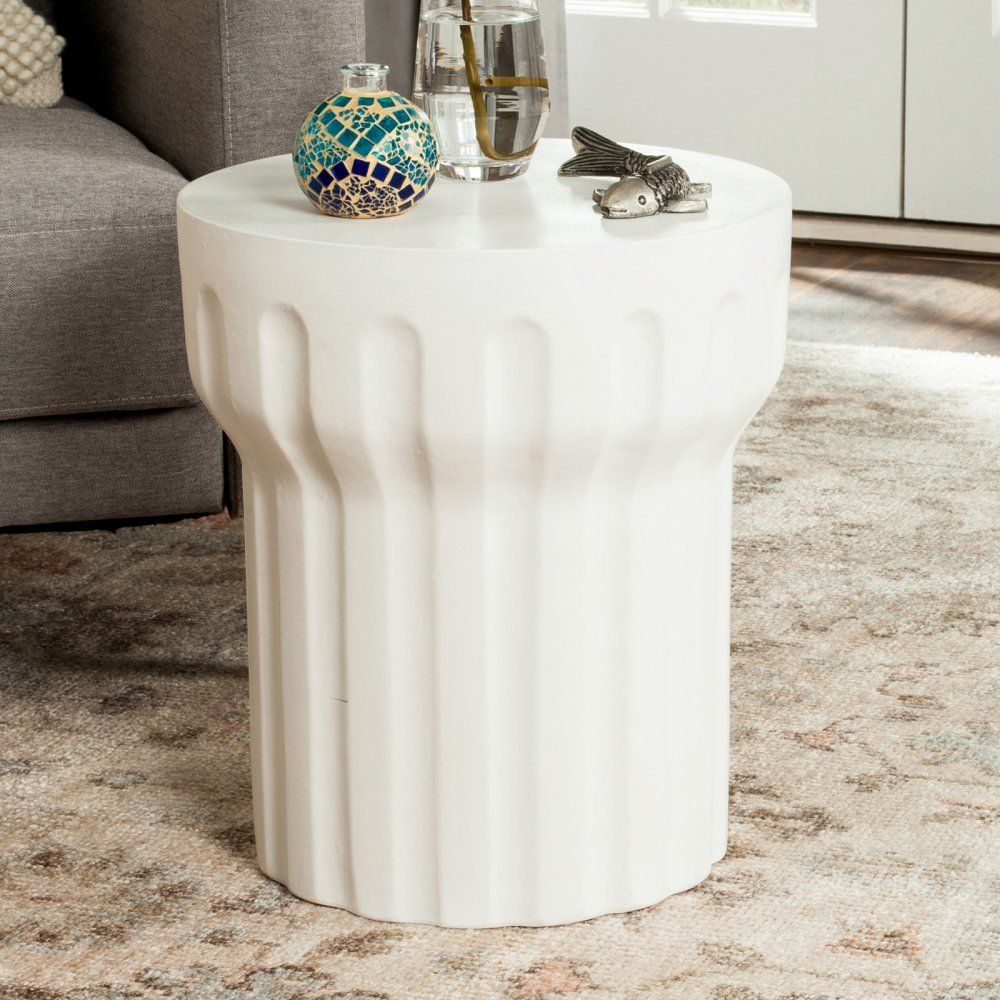 Safavieh Outdoor Collection Vesta Modern Concrete Ivory Round 15.3-inch Accent Table