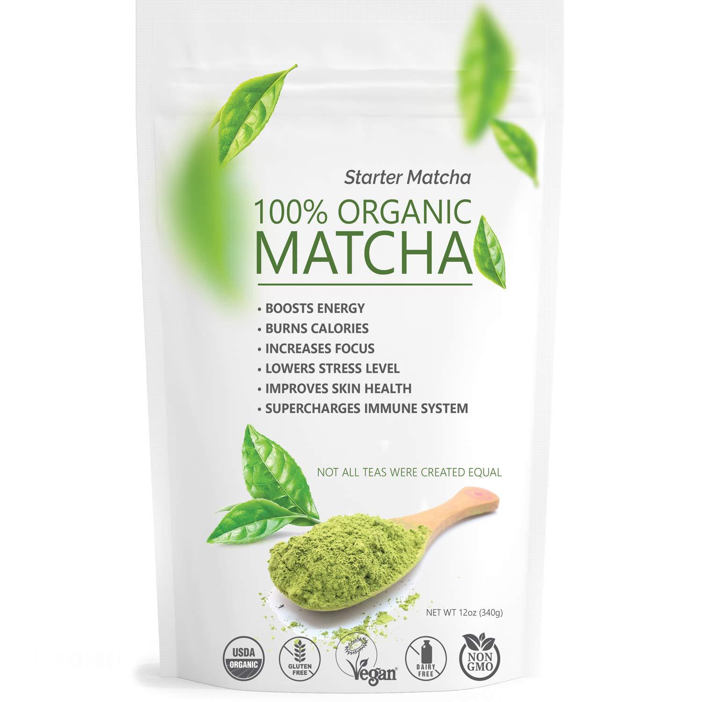 Starter Matcha Green Tea Powder 12oz (340g) USDA Organic Matcha - 100% Pure & Natural Energy Boost - Vegan & GMO-Free - Culinary Matcha Tea (Shakes, Smoothies, Lattes, Baking) by Matchaccino