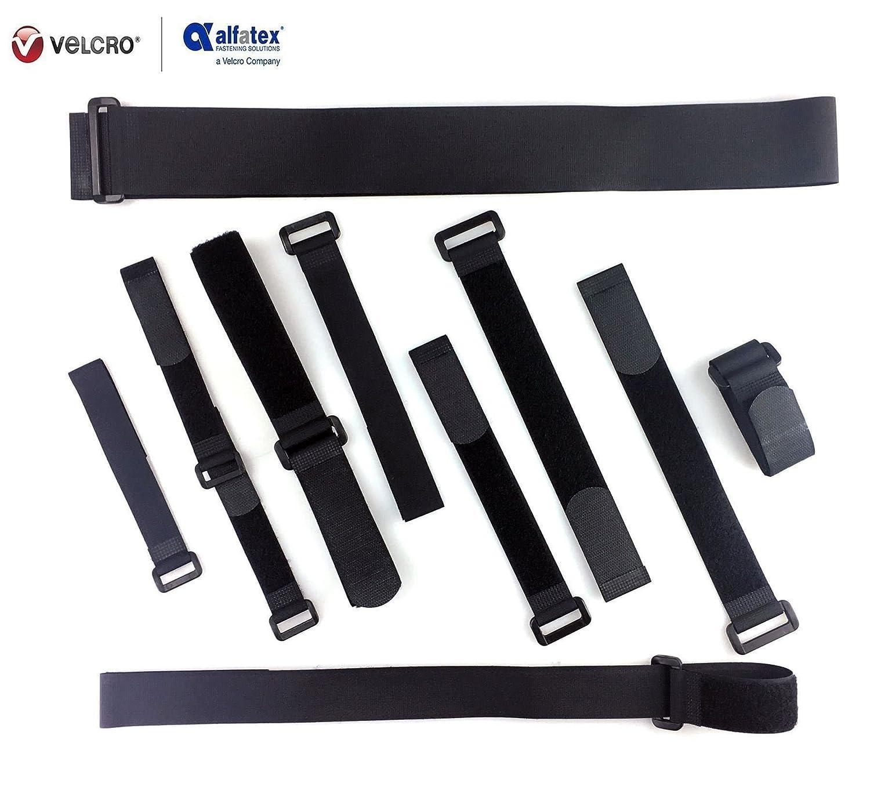 2 piezas nailon negro, correas de cierre de velcro para sujetacables y sujetador de organizador 3cm x 120cm Correas de velcro ajustable de Alfatex/®