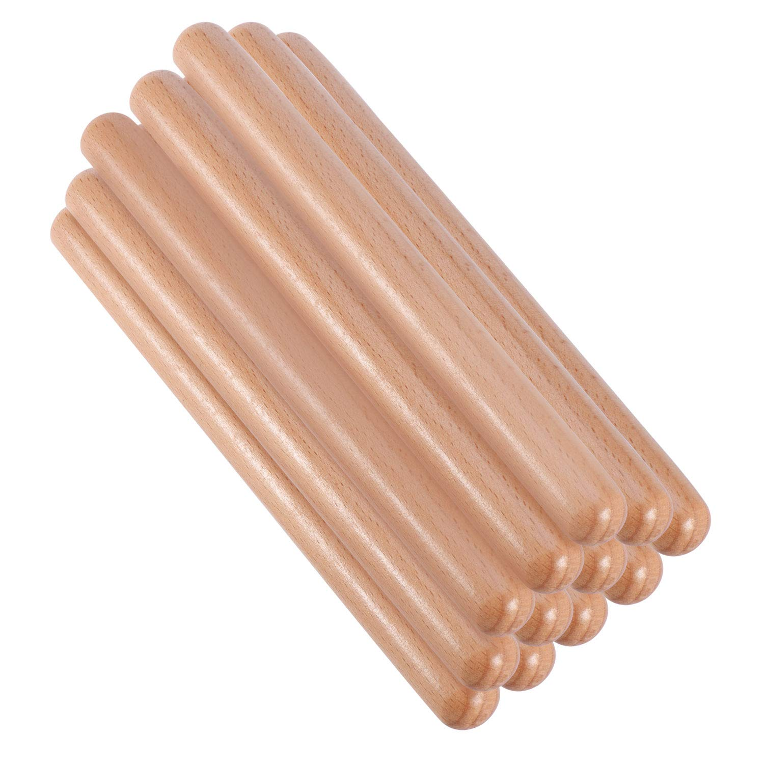 Canomo 6 Pairs (12 Packs) Rhythm Music Sticks 8 Inch Classical Solid Hardwood Claves Percussion Instrument with a Carry Bag for The Young Musicians(Natural Wood Color) by canomo