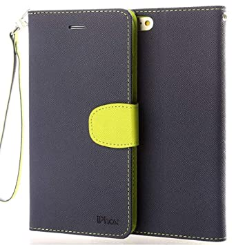 brand new 0ed98 4d9cf iPhone 6S Plus Leather Case, IPHOX iPhone 6 Plus Flip Folio Leather Wallet  Case with [Kickstand][Hand Strap][Card Slots] [Magnetic Closure] Notebook  ...